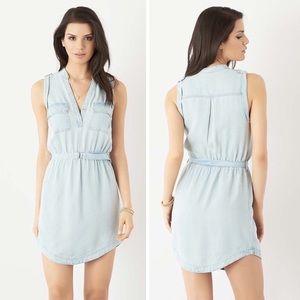 Dynamite Chambray Denim Belted Blue Shirt Dress